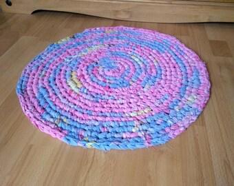 Handmade Crocheted Round Rag Rug, Eco Friendly, Upcycled Rug. Eco Rug.