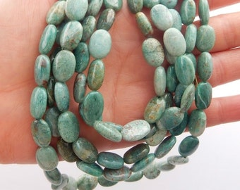 Cuprite smooth oval gemstone beads with red and white specks. ( 13x10mm) FULL STRAND (16 inches), green cuprite