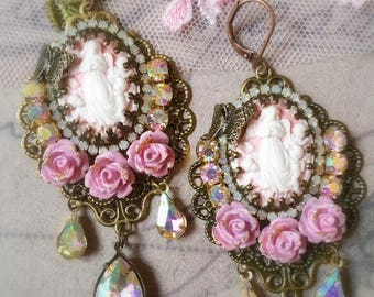Pale Pink angels shabby victorian cameo earrings