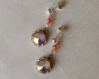 Sterling silver post earrings, Swarovski crystal rivoli post earrings,Rhinestone post earrings,Orange and crystal clear crystals earrings