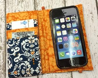 iPhone wallet case- blue and orange damask wallet with removable gel case