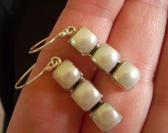 Freshwater Pearl (Natural) Channel 925 Sterling Silver French Wire Earrings