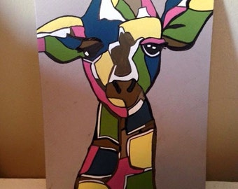 Giraffe gouache painting - available in 8x10 and 11x14
