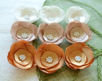 Satin fabric flowers, silk flower appliques, small satin rose, wedding flowers, bulk flowers, silk flowers (9pcs)- IVORY- CHAMPAGNE- GOLD