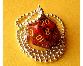 D20 Die Pendant - Mercury - Dungeons and Dragons -  Red Black Yellow - Geek Gamer DnD Role Playing RPG