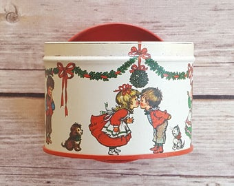 Christmas Mistletoe Decor Kissing Christmas Candy Dish Children Xmas Decor Christmas Tin Xmas Metal Tin Entryway Decor Holiday Red Gift Box