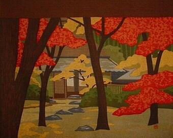 Japanese Wall Art Large Size Furoshiki Cotton 'Giouji' Japanese Fabric by Masao Ido w/Free Insured Shipping
