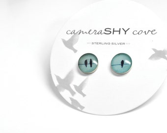 Photo Stud Earrings. (single pair) sterling silver & photography