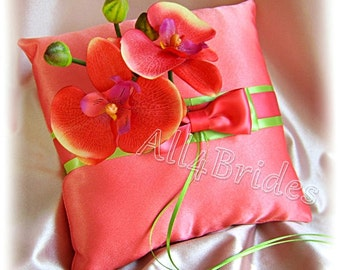 Coral and green weddings ring bearer pillow, coral orchids pillow, wedding ring cushion