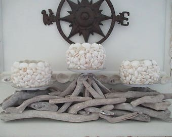 Nautical Whitewashed Driftwood Sconce, Three Glass Shell Candle Holders