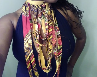 New item!!! Yellow Dashiki Flat Rope Layered Necklace Handmade One Of A Kind