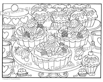 Fruit Tarts Coloring Page JPG
