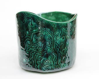 Forest green Carved Ceramic Planter, Hand built Unique plant pot, deep green, pottery flower pot, plant pot, green vase
