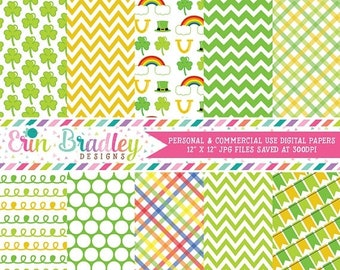 80% OFF SALE Shamrocks Digital Papers Instant Download St. Patricks Day Digital Paper Pack Yellow & Green Patterns