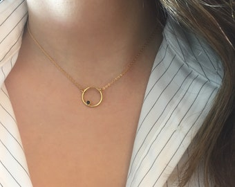 Circle Necklace, Cz Karma Necklace, Gold open circle Necklace, Silver Charm choker
