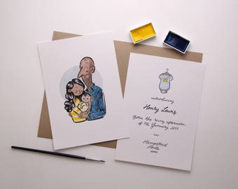Birth Announcement: Personalised illustration and lettering - 100% Handmade - Digital file