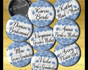 Bridal Shower Blue Lace Image Buttons, 2018 Wedding Color Bridal Shower Buttons, Bachelorette Party, Lace Wedding Party Buttons,