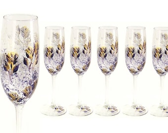 Bridesmaids Champagne Glasses 8x - Hand-Painted Midnight Navy Blue and Gold Roses Set of 8, Personalized - Custom Bachelorette Party Gifts