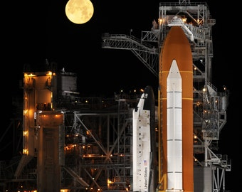 Space Shuttle Discovery Sits on Launch Pad 39A as the Moon Sets at Kennedy Space Center - 5X7, 8X10 or 11X14 NASA Photo (EP-140)