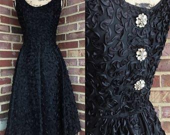 Vintage 1950s black taffeta party dress with satin ribbon, rhinestones and full skirt small xs