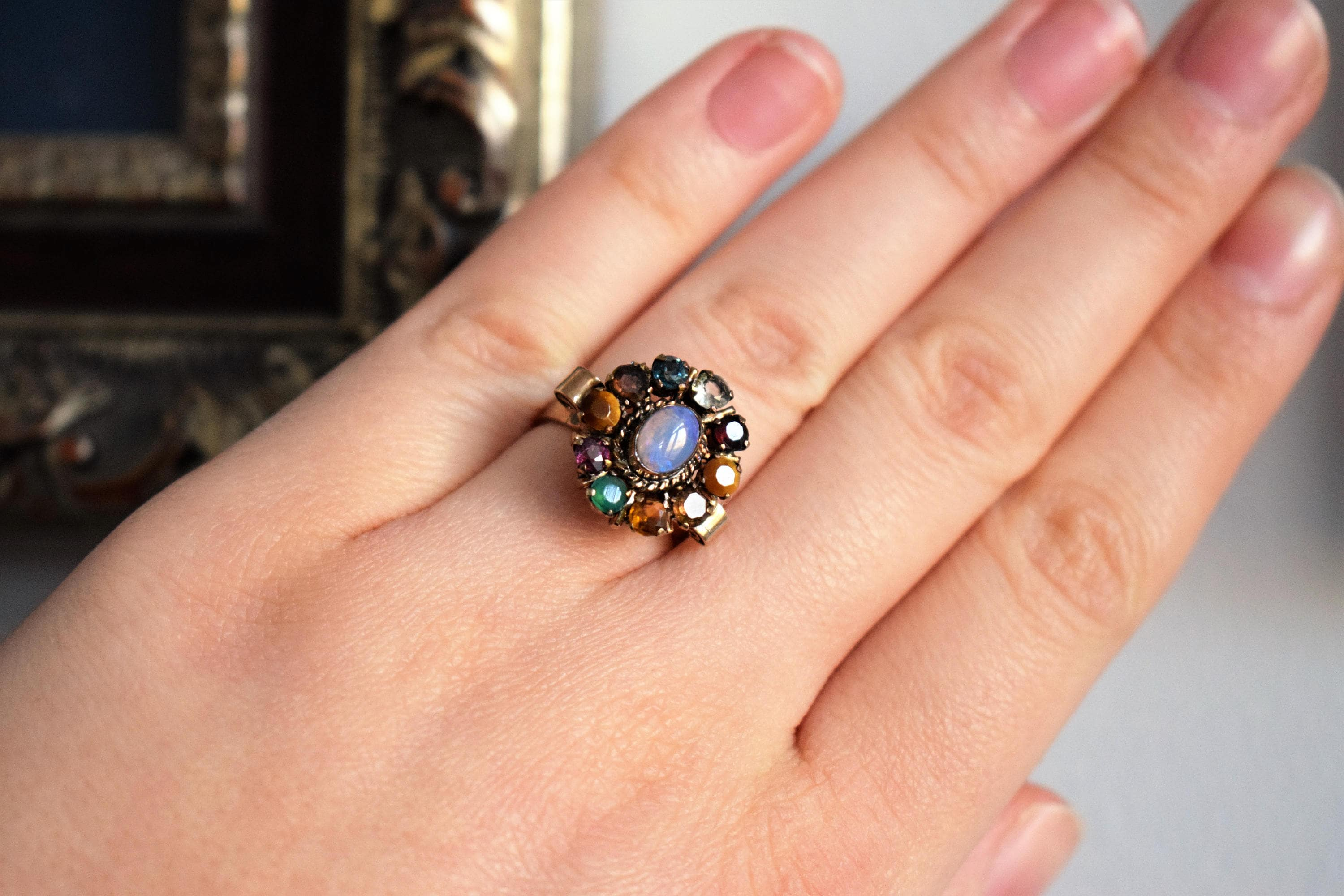 Vintage Rose Gold Opal Multistone Cocktail Ring 14k Rose Gold