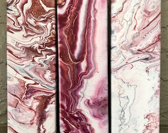 Set of 3 Marbled Maroon Garnet White Paintings