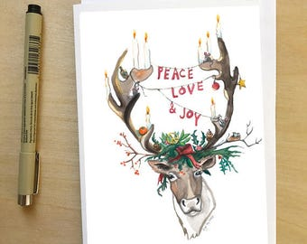 Peace Love and Joy, Holiday Greeting Card, Reindeer, Antlers, illustrated seasonal card by Abigail Gray Swartz
