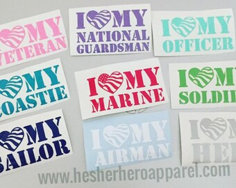 """I love my ... decal- 3.5"""" solider decal, marine corps decal, army wife, usmc girlfriend, military decal"""