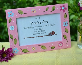 Glittery Pink Painted Frame with Flowers/ Girl Picture Frame/ Flower Picture Frame