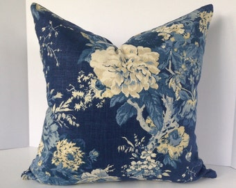 Ballard Bouquet Indigo Floral Decorative Pillow Cover in Waverly Fabric