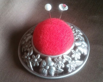 VIctorian Style Red Wool Pincushion