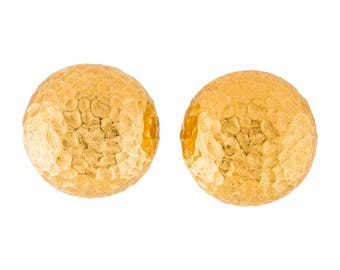 Christian Dior Hammered Dome Clip-On Earrings