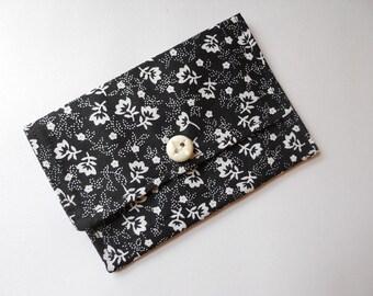 Kleine Geldbörse Visitenkarte Brieftasche Geschenk-Kartenhalter schwarz weiß Floral
