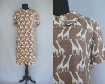 1960s Vera Maxwell Giraffe Print Dress