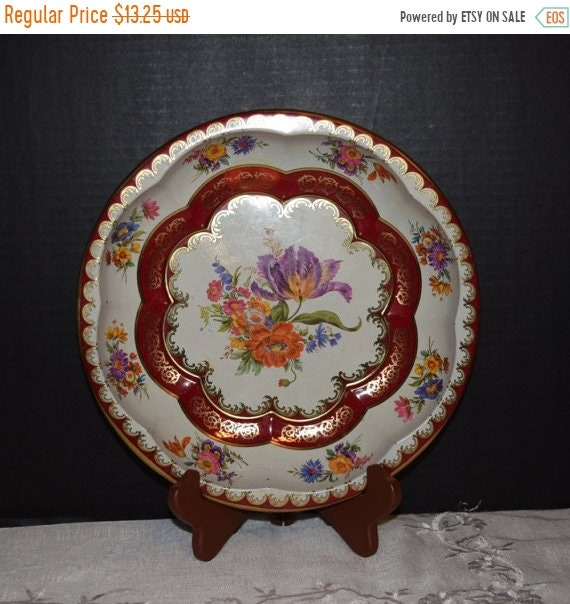 Delayed Shipping Daher Decorated Ware Metal Tray Vintage Dresden Style Floral Metal Bowl Made in England 1970s Metal Round Serving Bowl Engl