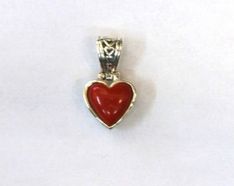 Sterling Silver Heart Charm Pendant, Red Heart charm for charm bracelet or necklace, 26mm Red Onyx, Sterling SIlver Charm, Heart Charm
