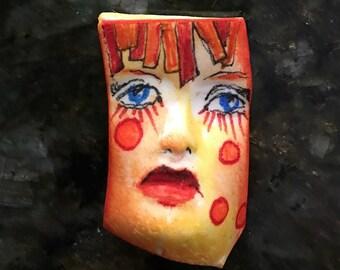 Handmade clay face  red hair blue jewelry craft supplies  handmade cabochon  face light weight polymer