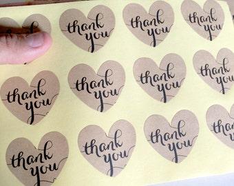 24 kraft heart thank you sticker - thank you heart label - wedding heart favor sticker - wedding favors - calligraphy thank you seals