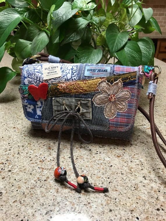 Handmade Blue Denim recycled patchwork small bohomian purse over the shoulder or crossbody bag, free shipping!