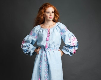 Embroidered blue dress ukrainian embroidery