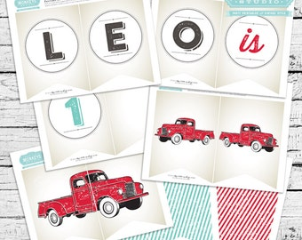 Red Truck Birthday Banner - Vintage look!