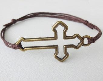 Sideways Cross Bracelet or Anklet, Large Cross, Antique Brass, Bronze, Man Bracelet, Father's Day Gift, Christian, Husband, Brother, Son