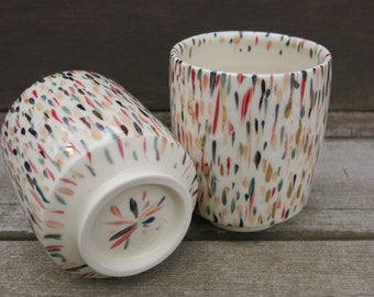 Colorfully Painted Party Cup with Gold Accents, Tea Cup, Yunomi, Tumbler, Whiskey Glass, Handmade Artisan Pottery by Licia Lucas Pfadt