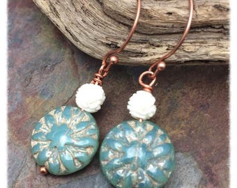Vintage Dahlia Earrings, Czech Glass and Copper, Marta Weaver Jewelry, Free Shipping, Christmas, Birthday, Anniversary Gift