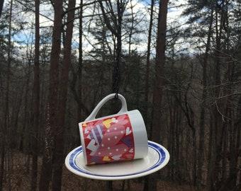 Bird Feeder unique vintage hearts cup and saucer