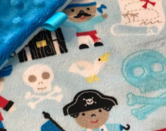 Minky Lovey, Security Blanket Pirate Print Minky with Turquoise Dimple Dot Minky Backing - great for a new baby