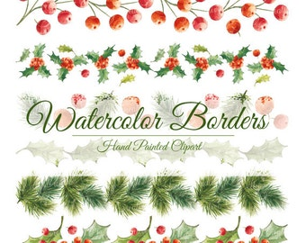 watercolor borders, hand painted borders, christmas borders, watercolor clipart, hand painted clipart, christmas clipart