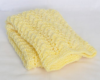Yellow Baby Blanket, Knitted Lap Afghan in Sunshine Yellow, Newborn Size