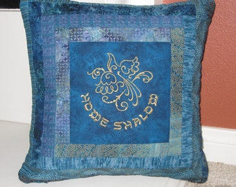 Home Shalom Embroidered Log Cabin Design Decorative Pillow Cover 16 inch Teal Blue