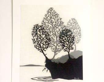 Winter Lake - Giclee print from original papercut art
